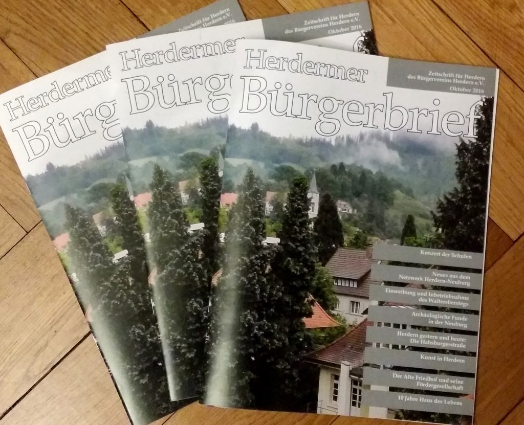"Der neue ""Herdermer Bürgerbrief"" 2016 Nr. 2"